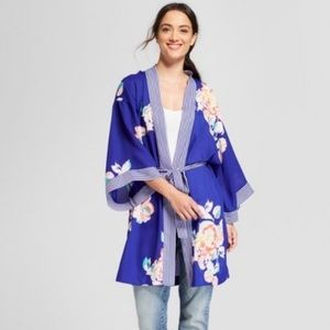 A New Day Blue Floral Kinono NWT